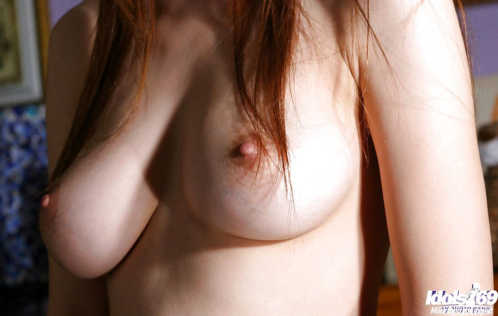 Miniscule Japanese adolescent princess uncovering her titties and unshaved love-cage