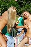 Stunning lesbian cuties in perspired outdoor foursome