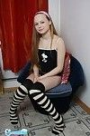 Alluring adolescent year old youthful in knee highs