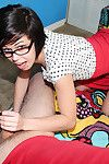 Compact youthful in glasses gives cock masturbating