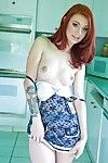 Redhead teen gal Sasha Torture stripping and toying her cum-hole in the kitchen