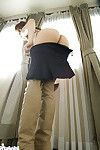 Enthralling Japanese teen-age darling sluggishly pleasing off all of her suit