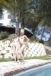 Zoe Foxx and fascinating juvenile Courtney Star show their butts outdoor