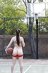 Naughty coed Alexis Rodriguez erotic dancing and swelling on public bb court