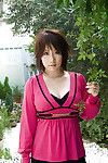 Japanese coed Hanano Nono slowly uncovering her outstanding big bosoms
