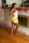 Youthful hottie Sandy shows off her adolescent Ebon ass during undressing