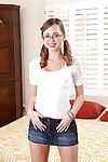 Dark hair Teenage hotty in glasses Riley Reid slipping off her clothing