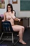 Busty coed in glasses Noelle Easton stripping and widening her legs