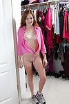 Smiley redhead adolescent Alice Rae undressing and exposing her shaved cooter