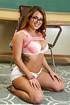Keen schoolgirl with glasses Keisha Grey rubbing her clit