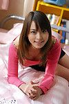Beautiful asian juvenile hotty in socks uncovering her petite body