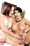 Full-grown and younger lesbian babes Shay Fox ad Mandy Muse rubbing milk shakes simultaneously