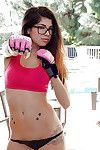 Priceless in glasses Ava Taylor shows her sporty shame on camera!
