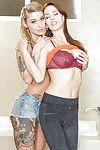 Tattooed coeds Kleio Valentien and Madi Meadows fade away lass on lass