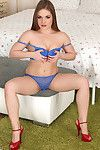 Damp youthful from Europe Alessandra Jane takes off her blue underclothes