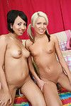Teen gals Kacey and Veronique showing their amateur in nature\'s garb bodies