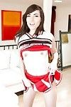 Dirty juvenile chicito Emily Grey posing solo in wild cheerleader uniform