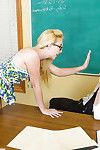 Coed in glasses with undersize milk cans Samantha Rone blowjobs strict mentor