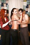 Redhead coed in glasses has some groupsex indulgence with her hungry supporters