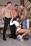 Lascivious juvenile Melanie Memphis accepts blowbanged and screwed by 3 stallions