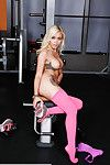 Sporty young Marsha May location in her pantyhouse right in the gym