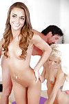 Sodden legal age teenagers Halle Von and Marry Lynn have a threesome with a hung boi