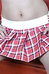 Exotic Latin cutie dear Clarice exposing smooth infant cum-hole from underside petticoat