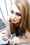 Sheltered woman Alexa Grace deepthroating phallus on balcony ahead of making love