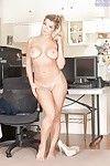 Golden-haired secretary Adriana Sephora bares her enormous Principal timer bazookas at till