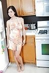 Infant and boobsy dark hair alluring showing off pink gentile in kitchen