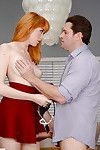 Redheaded Euro young Anny Aurora giving bj previous to ejaculation in shaved gentile