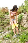 Nearly legal amateur princess flashing real fat regular breasts outdoors