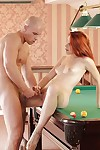 Happy young Amarna Miller is penetrated by skinhead stallion not susceptible the pool table