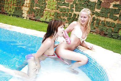 Fabulous lesbian teen Lizzy B enjoys sex underwater in a bikini