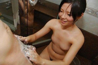 Teenage asian cutie Ami Nagashima gives a animal blowjob with ball licking
