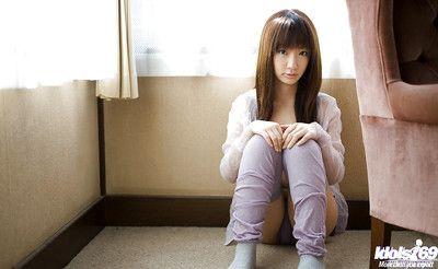 Loveable asian teen with neat hit up Hina Kurumi slipping off her panties