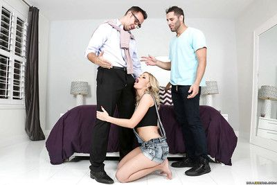 Clothed flaxen-haired hottie Jessa Rhodes on knees for face fucking