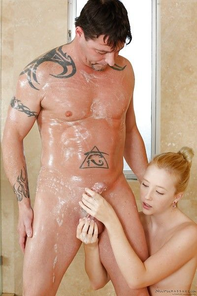 Teen babe Samantha Rone masturbating soapy cock all round the shower