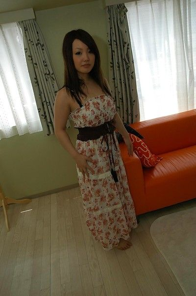 Asian honoured Nagisa Matsui slipping off her dress and lingerie