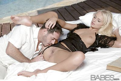 Slippy blondie gets shagged and jizzed over her belly and shaved pubis