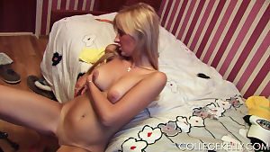 Vivacious young honey plays with a stiffening pride smoking carefully