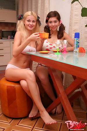 Appealing youthful prostitutes messing up their bodies with cock cream