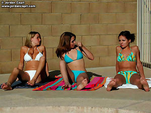 Adolescent amateur chicks sun tanning outdoors