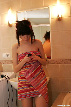 Petite fresh dark brown takes perspired shower-room in abdomen of your smoking eyes