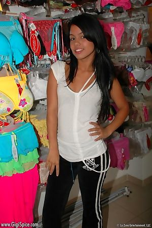 Juvenile Latin porn star cruising a underclothes shop