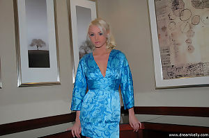 Blue satin clothing on a dreamy amateur with a consummate body for modeling