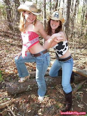 2 wild young cowgirls stripped their tasty boobies in the woods