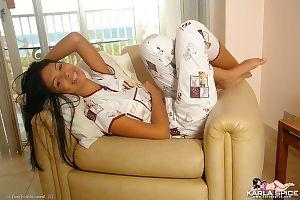 Joyful infant cuttie removes clothes her hawt pajamas
