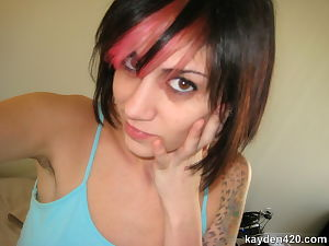 Satisfying adolescent chicito with tats covering her body hints u to eat her out