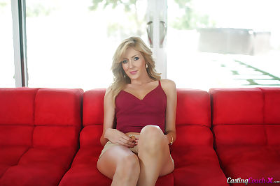 Jerking off doing from an adolescent doll Emily Kaye on her red bed